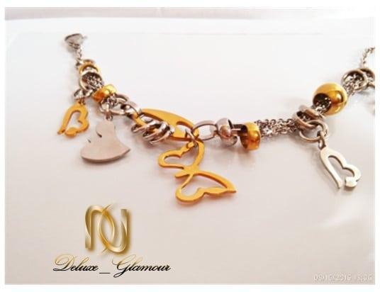 دستبند استیل اسپرت طرح پروانه و قلب