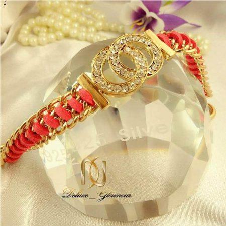 دستبند اسپرت دخترانه نگین دار صورتی و طلایی ds-n109 روی گوی