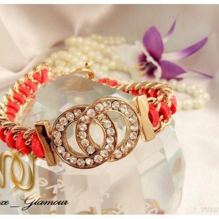 دستبند اسپرت دخترانه نگین دار صورتی و طلایی ds-n109 از روبرو