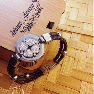 دستبند چرمی دخترانه پرنگین Jwest قهوه ای ds-n108
