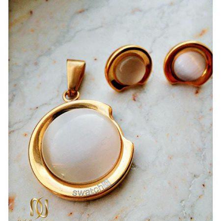 نیم ست استیل دخترانه طلایی همراه با سنگ اپال سفید کد NS-n103