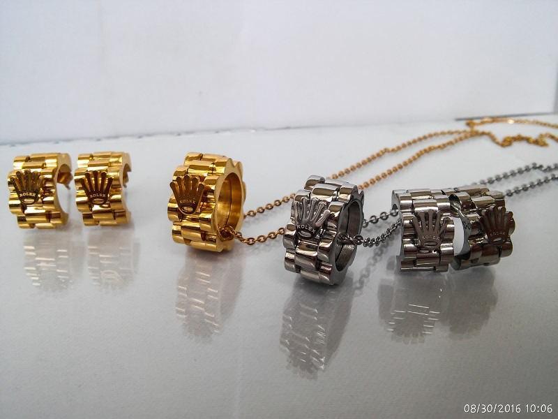 نیم ست استیل دخترانه طرح حلقه ای رولکس Rolex کد NS-n105