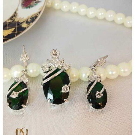 نیم ست طرح جواهر زنانه رادیوم با تک نگین درشت رنگی کد NS-n107 رنگ سبز