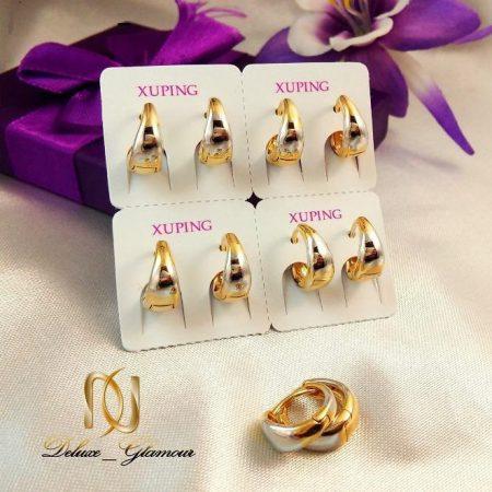گوشواره حلقه ای دو رنگ ژوپینگ Xuping طلایی نقره ای سایز کوچک با قفل ضربه ای