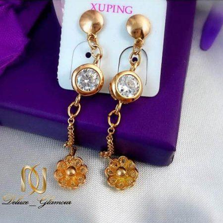 گوشواره آویزی طلایی نگین دار طرح گل ژوپینگ با قفل گل میخ Ew-n101