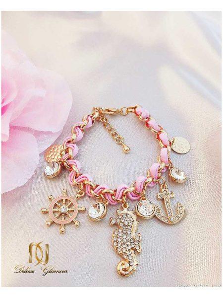 دستبند دخترانه فشن صورتی طرح اسب دریایی ds-n105 مناسب برای تیپ اسپرت و فشن