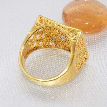 انگشتر زنانه استیل مربعی طرح طلا rg-n111 از پشت