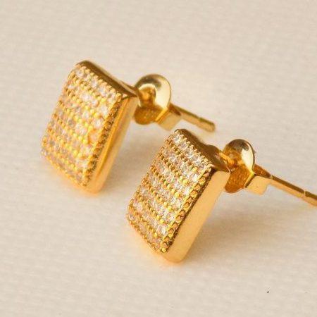 سرویس تمام زنانه ظریف نگین دار مربعی طرح طلا کد SE-n102 گوشواره