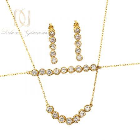 سرویس زنانه طرح طلا تمام استیل se-n100 از نمای سفید