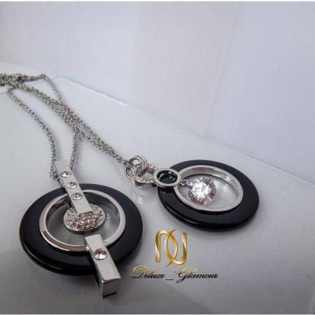 گردنبند دخترانه استیل و سرامیک مشکی نقره ای لوکس کد NW-n100 در دو نوع