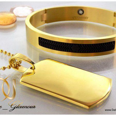 ست دستبند و گردنبد آینه ای montblanc مردانه ds-n152 طلایی