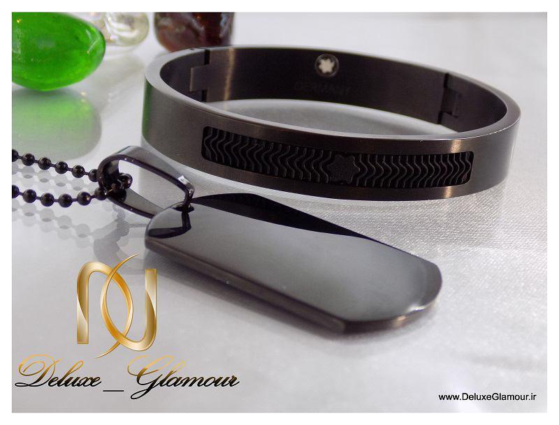ست دستبند و گردنبد آینه ای montblanc مردانه ds-n152 مشکی