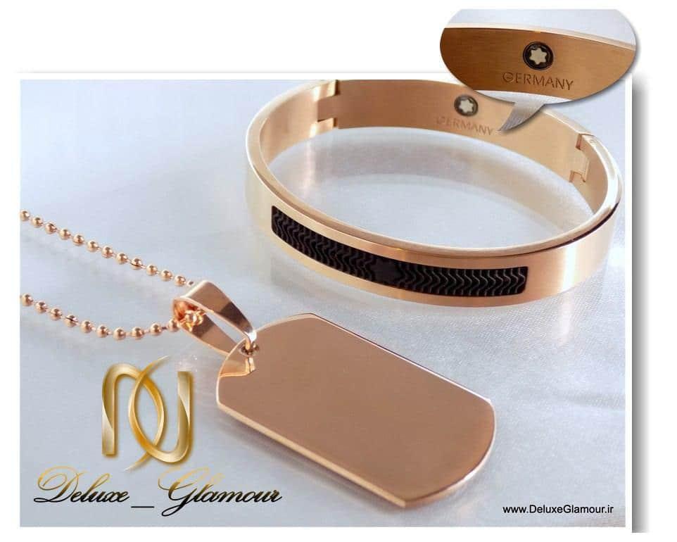 ست دستبند و گردنبد آینه ای montblanc مردانه ds-n152 رزگلد