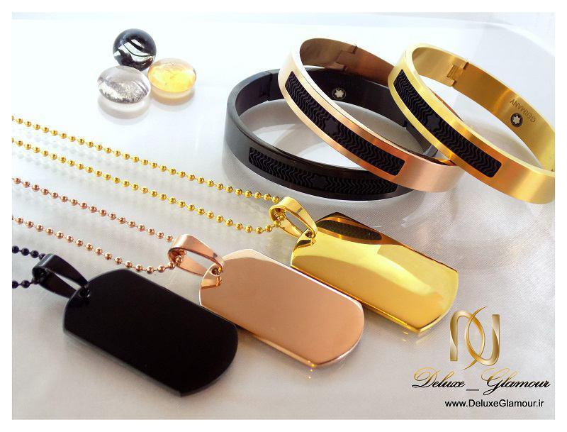 ست دستبند و گردنبد آینه ای montblanc مردانه ds-n152 سه رنگ مشکی رزگلد و طلایی