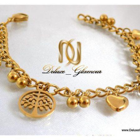 دستبند دخترانه طرح طلا آویزدار اسپرت زنجیری ds-n111 از نزدیک 2