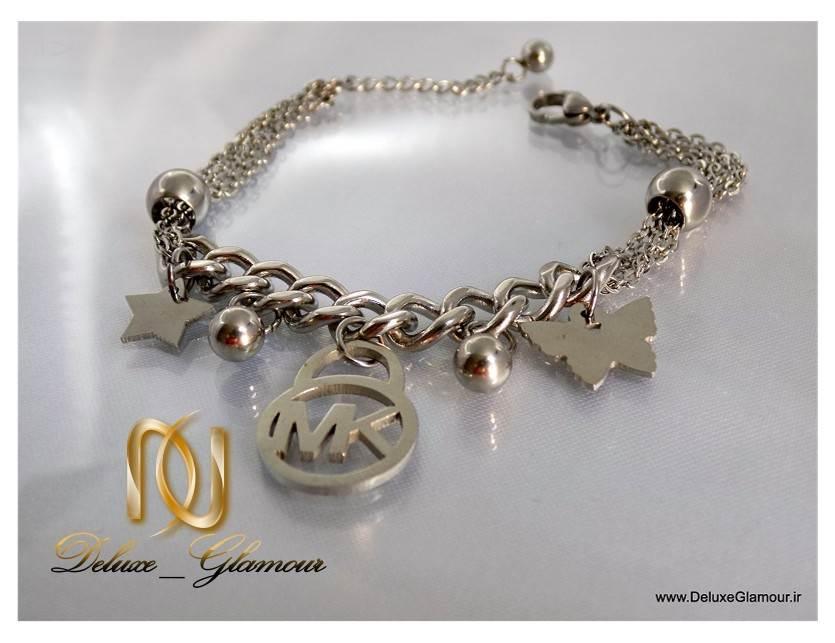 دستبند دخترانه اسپرت آویزدار نقره ای زنجیری ds-n113 از نزدیک