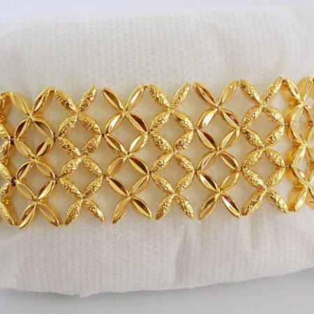 دستبند زنانه طرح طلا عریض ژوپینگ شبکه ای ds-n114 از نمای بسته