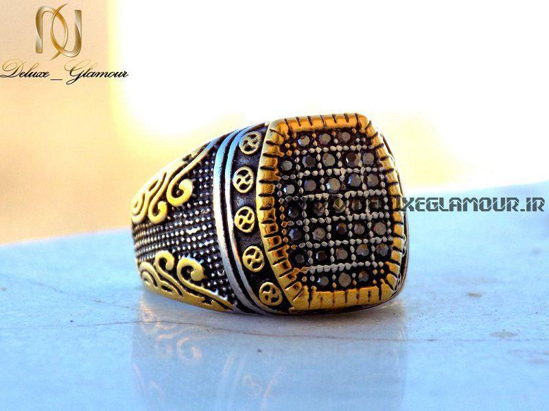 انگشتر مردانه لوکس نقره ای - طلایی نگین دار rg-n140