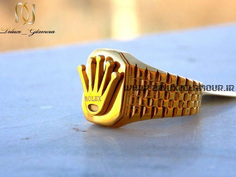 انگشتر مردانه طلایی استیل Rolex با آرم برند رولکس rg-n137