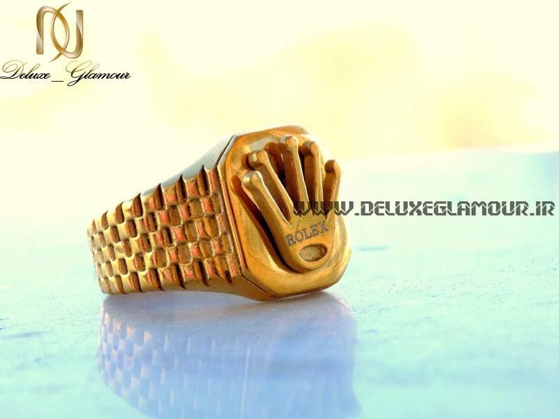 انگشتر مردانه طلایی استیل Rolex با آرم برند رولکس rg-n137 از سمت راست