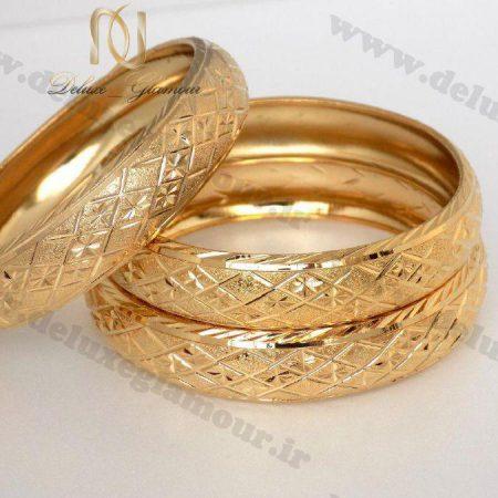 النگو طرح طلا زنانه با نقش و نگار لوزی ds-n115 روی هم