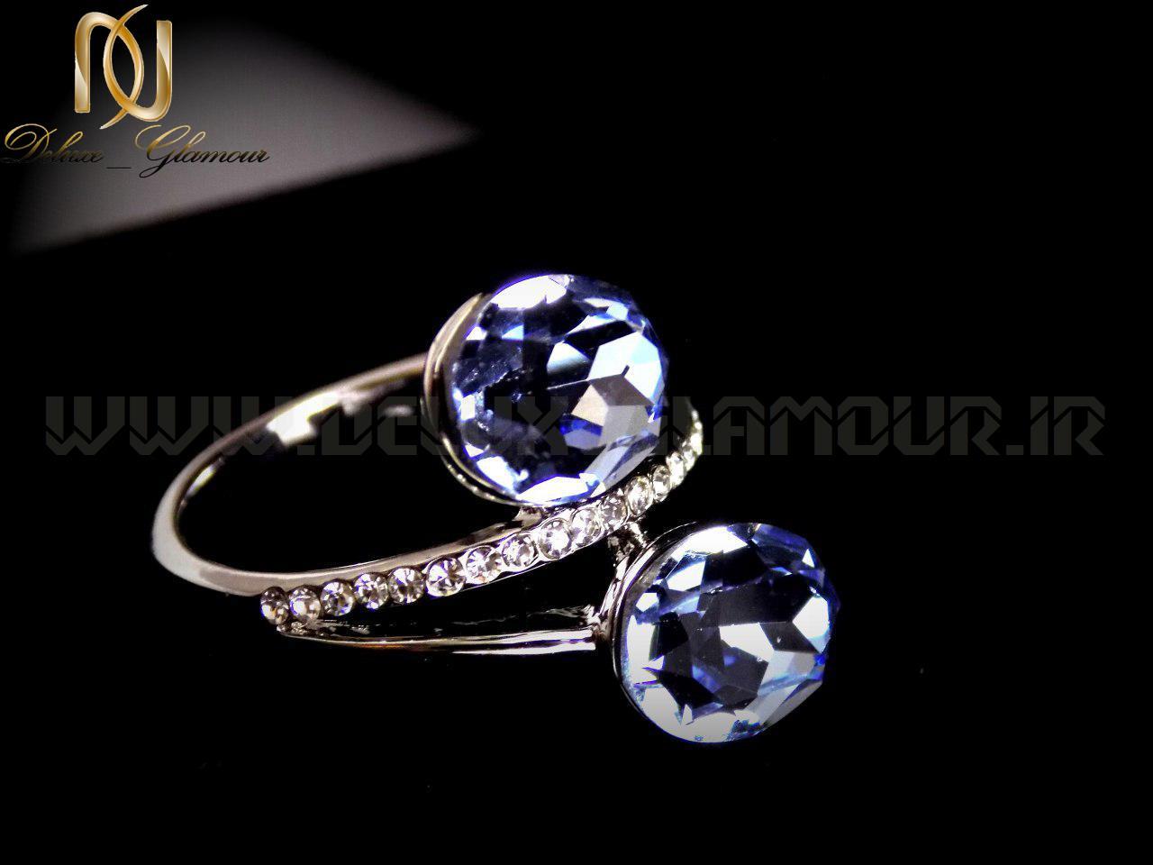 انگشتر دخترانه کلیو با نگین های آبی روشن rg-n114
