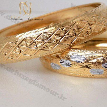 النگو طرح طلا زنانه با طرح های نقره ای ds-n115 دوتایی