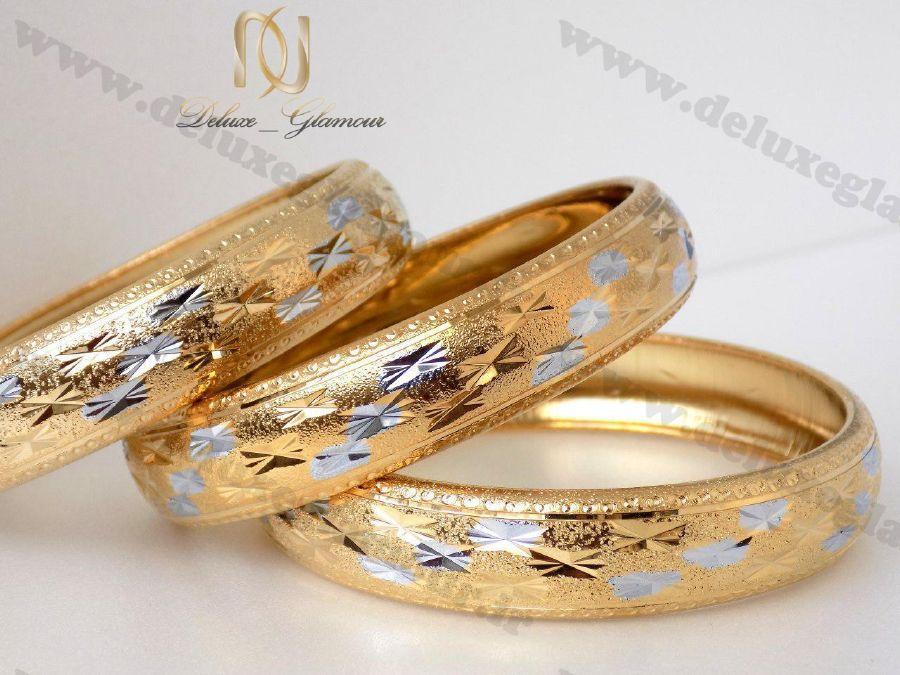 النگو طرح طلا زنانه با طرح های نقره ای ds-n116 بر روی هم
