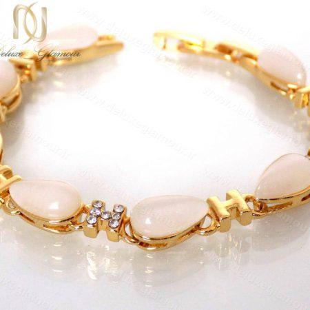 دستبند دخترانه لوکس طلایی با المان های سواروسکی کلیو cl-0190-D با پس زمینه سفید و کامل