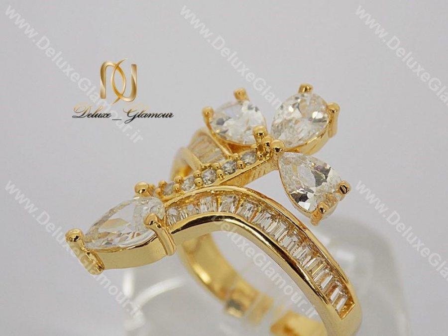 انگشتر دخترانه ماری تیتانیومی طرح طلا rg-n117 از کنار