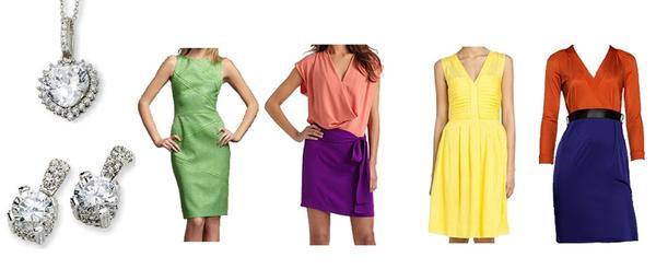 ست کردن رنگ لباس با زیورآلات و جواهرات لباس های رنگی و نگین های کریستالی