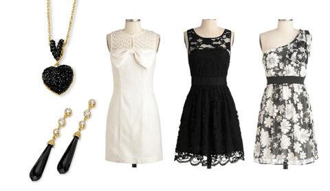 ست کردن رنگ لباس با زیورآلات و جواهرات رنگ سیاه و سفید