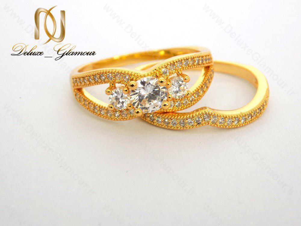 انگشتر و پشت حلقه دخترانه نگین دار تیتانیومی rg-n119 جدا از هم روبرو