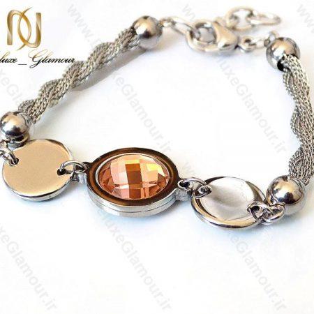 دستبند دخترانه استیل با نگین شامپاینی ds-n119 از مقابل