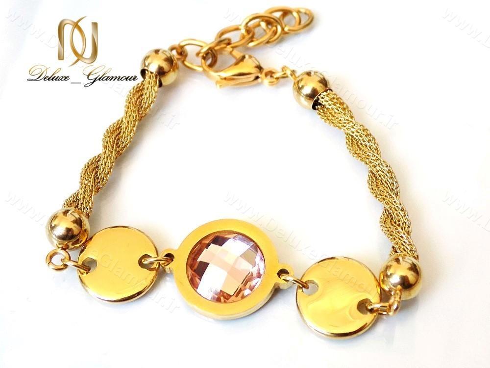 دستبند دخترانه استیل با نگین شامپاینی ds-n119