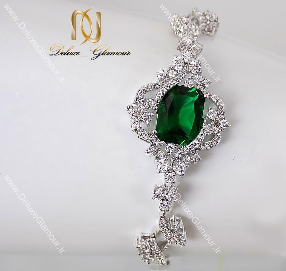 دستبند زنانه جواهری کلاسیک نگین سبز Clio کد cl-194-d