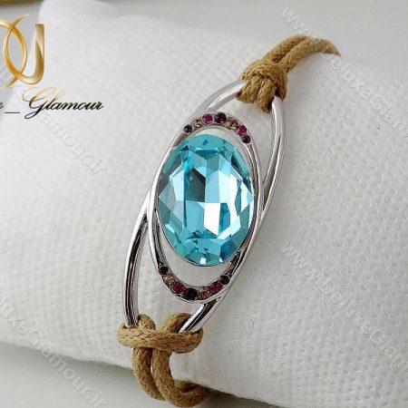 دستبند اسپرت دخترانه آبی کنفی با المان های سواروسکی ds-n120 از مقابل