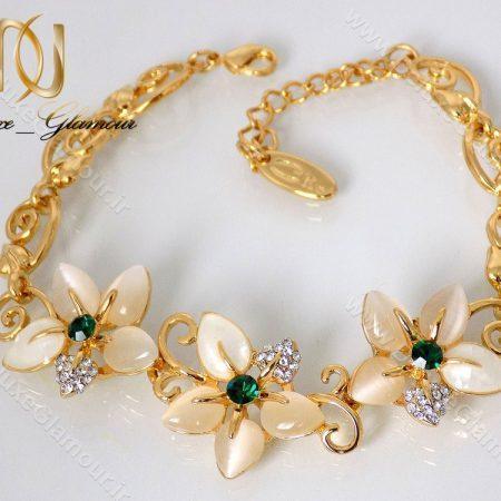 دستبند دخترانه طرح گل طلایی کلیو با المان های سواروسکی ds-n121