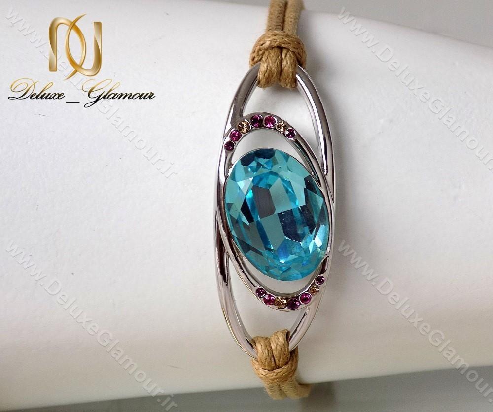 دستبند اسپرت دخترانه آبی کنفی با المان های سواروسکی ds-n120