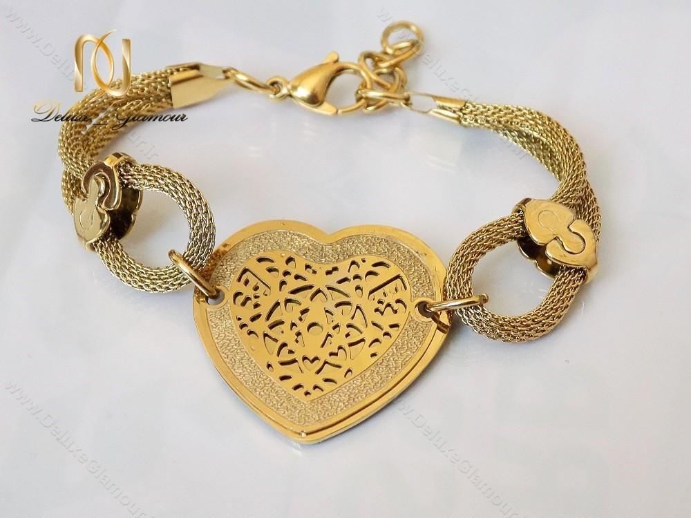 دستبند استیل زنانه زنجیری طلایی طرح قلب ds-n123 از نمای دیگر