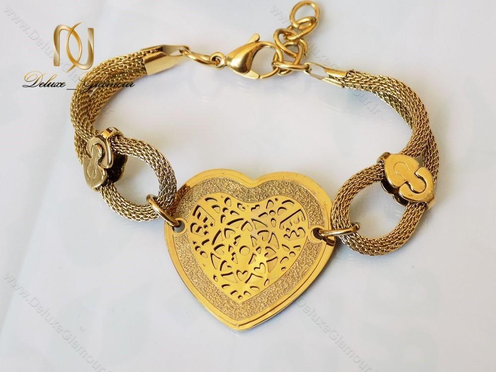 دستبند استیل زنانه زنجیری طلایی طرح قلب ds-n123 از بالا