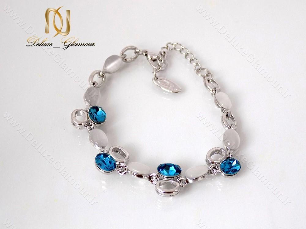دستبند دخترانه اسپرت نقره ای کریستال سواروسکی کلیو ds-n122 از بالا نمای دور