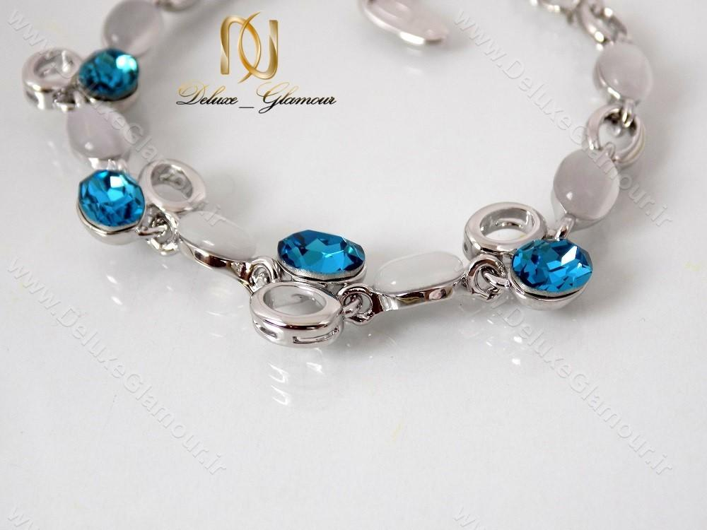 دستبند دخترانه اسپرت نقره ای کریستال سواروسکی کلیو ds-n122 از بالا