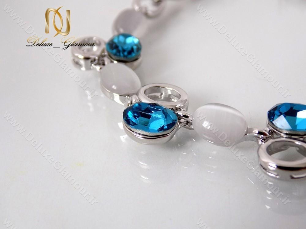 دستبند دخترانه اسپرت نقره ای کریستال سواروسکی کلیو ds-n122 از میانه