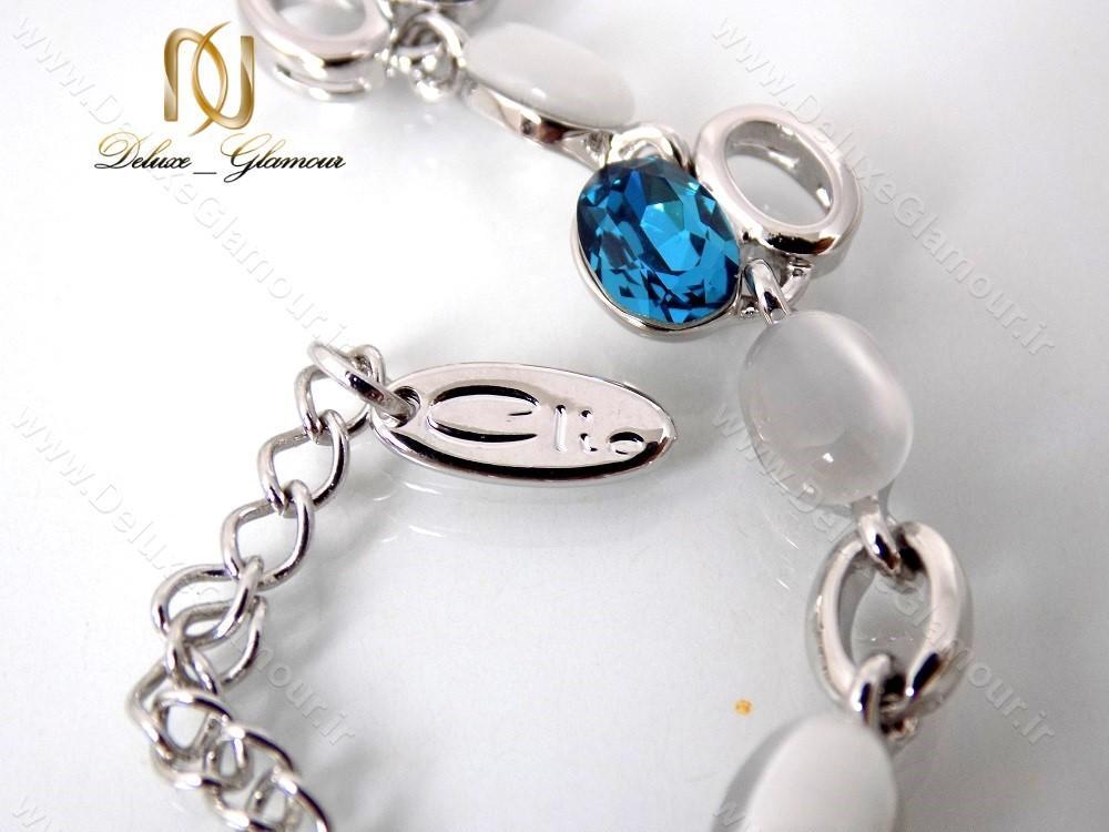 دستبند دخترانه اسپرت نقره ای کریستال سواروسکی کلیو ds-n122 کریستال آبی