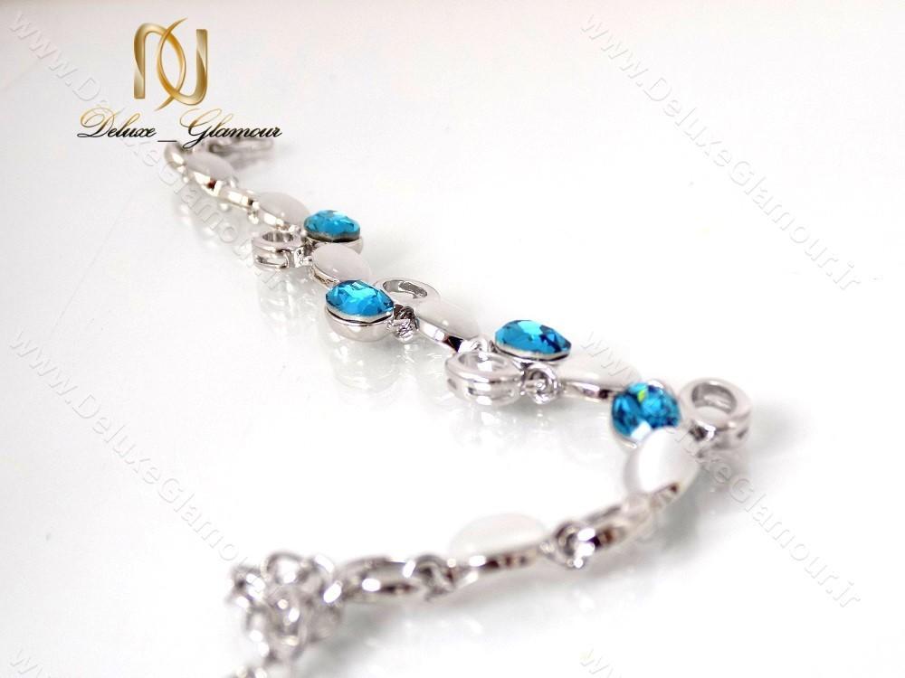 دستبند دخترانه اسپرت نقره ای کریستال سواروسکی کلیو ds-n122 باز و پهن شده