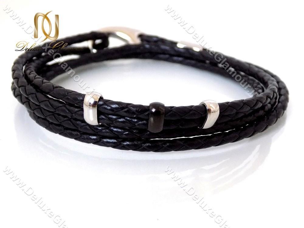 دستبند چرمی بافت مردانه Mont Blanc مشکی ds-n142 از روبرو