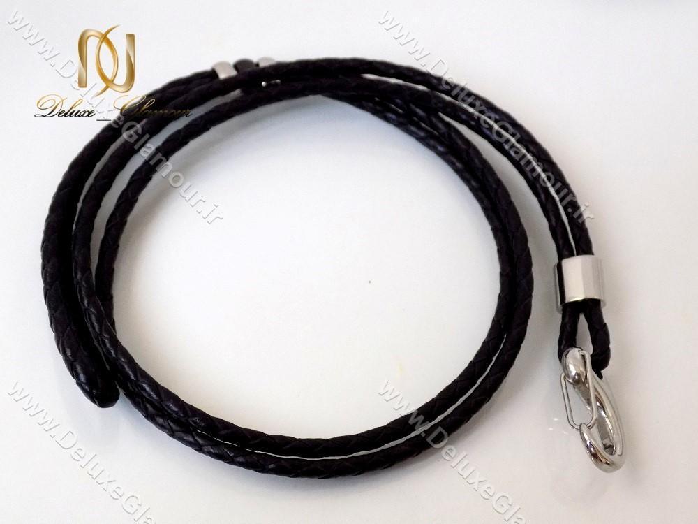 دستبند چرمی بافت مردانه Mont Blanc مشکی ds-n142