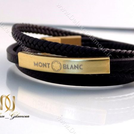 دستبند چرمی چند ردیفه مردانه مشکی-طلایی Mont Blanc کد ds-n144 سمت چپ