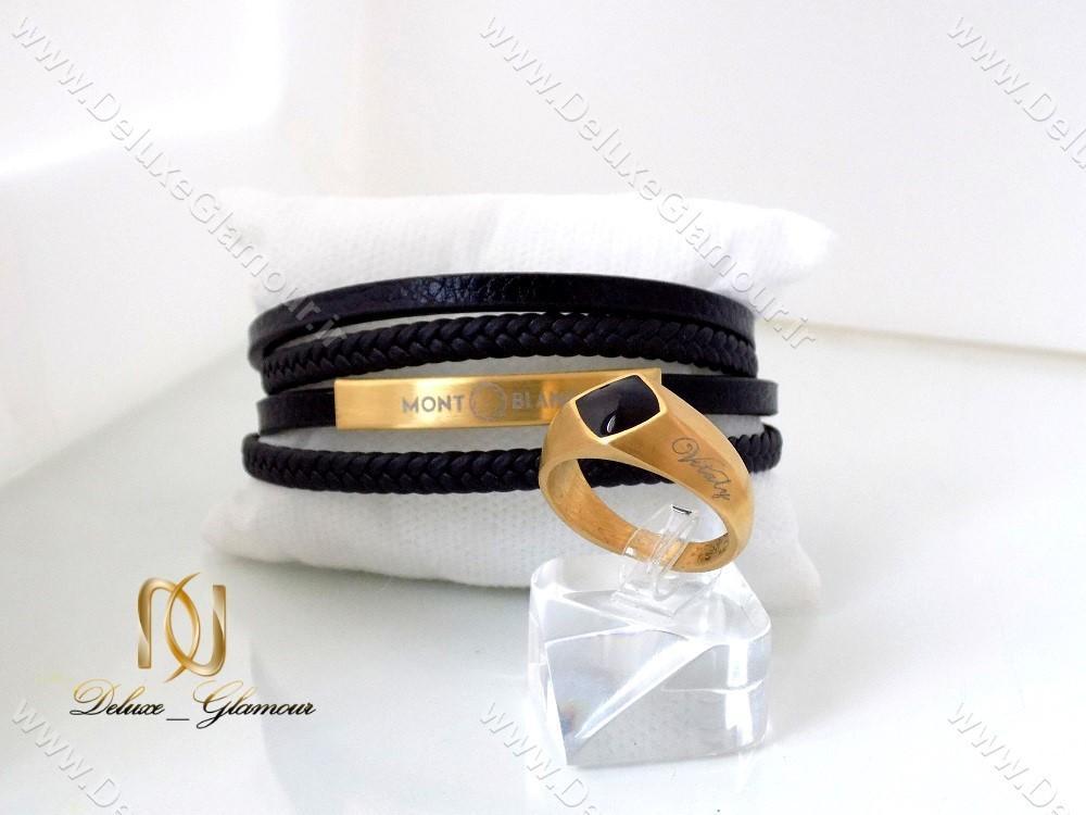 دستبند چرمی چند ردیفه مردانه مشکی-طلایی Mont Blanc کد ds-n144 در کنار انگشتر ویتالی طلایی